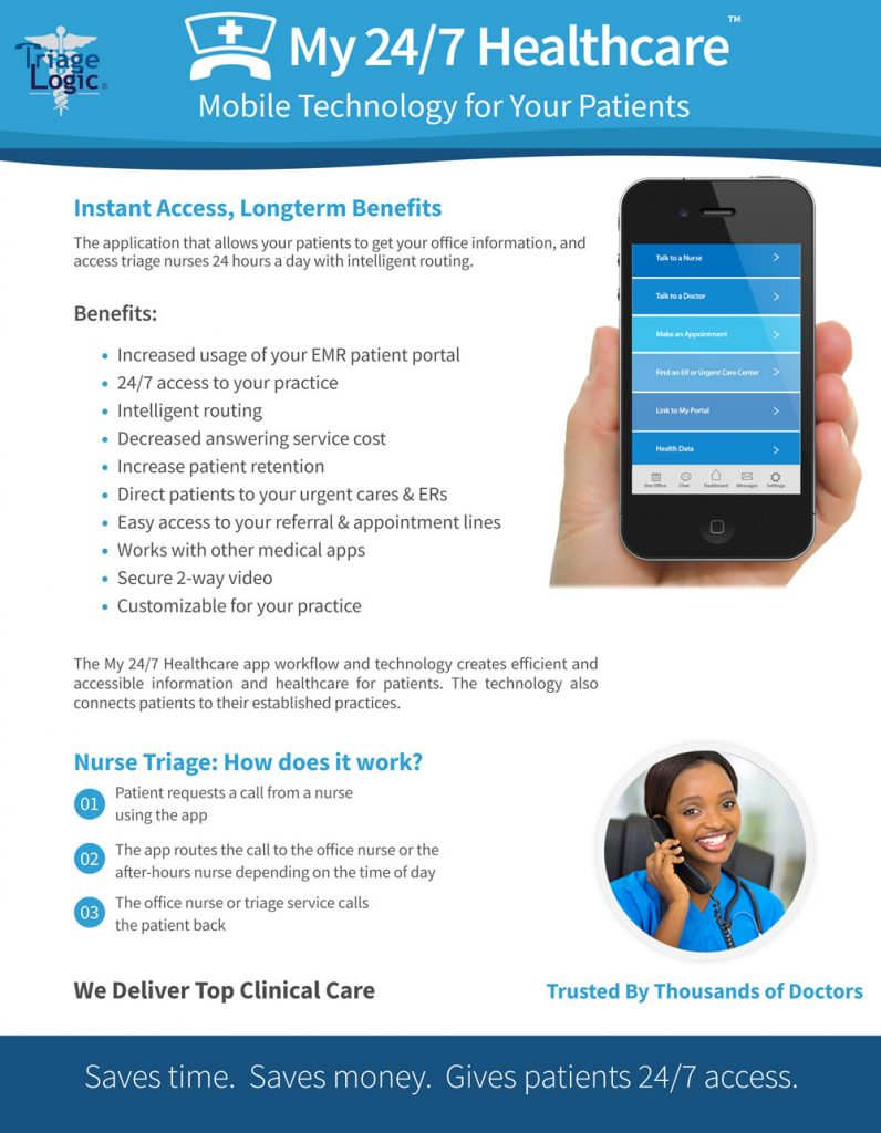 Brochure for a healthcare app for patients to access live triage nurses