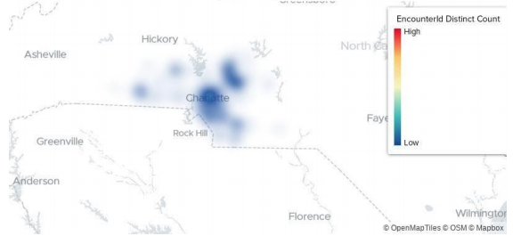 Heat map of patients with flu in North Carolina