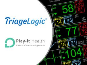TriageLogic and Play-it Health business logos, coupled with a display of vital signs on an ICU monitor.
