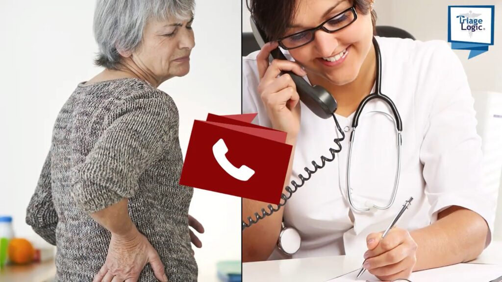 An older adult female braces her hip with her hand while in visible discomfort, as a triage nurse is on the phone with her taking notes.