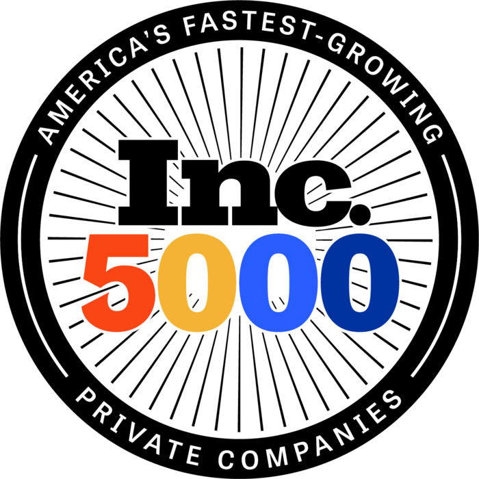"""Logo concept: The words """"Inc."""" in black; the number """"5000"""" in orange, yellow, blue, and navy blue respectively; a circular black band surrounding it that reads """"America's Fastest-Growing Private Companies"""" in white font."""