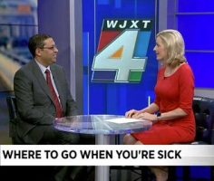 Dr. Ravi Raheja speaking on Jacksonville News Channel 4 on where to go when you're sick