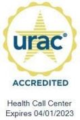 URAC Accreditation Seal for TriageLogic Health Call Center Expires 4-1-2023